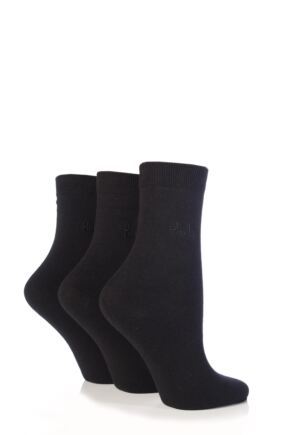 Ladies 3 Pair Pringle Tiffany Plain Trouser Socks Black