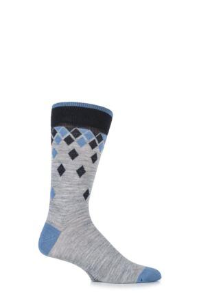 Mens 1 Pair Viyella Falling Diamonds Wool Blend Socks