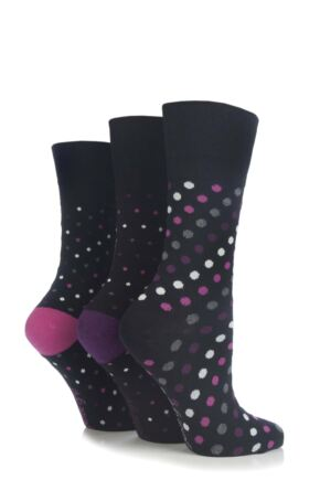 Ladies 3 Pair Gentle Grip Black Dots Socks