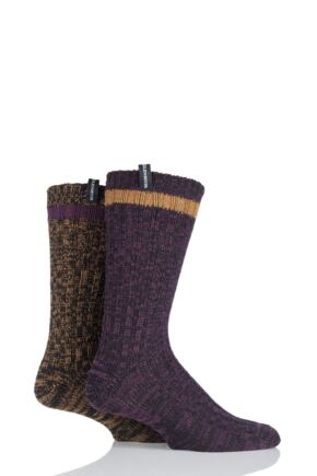 Mens 2 Pair Glenmuir Wool Blend Ribbed and Plain Contrast Heel and Toe Boot Socks Black 7-11 Mens