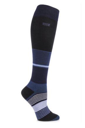Ladies 1 Pair Elle Wool and Viscose Striped Knee High Socks