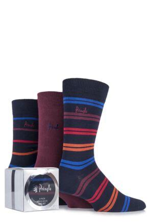 Mens 3 Pair Pringle Gift Boxed Kentallen Plain and Striped Cotton Socks