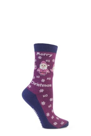 Ladies 1 Pair SockShop Festive Feet Santa Christmas Novelty Socks Pink 4-8
