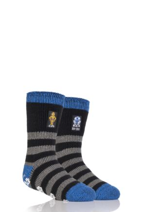 Boys 1 Pair Heat Holders Star Wars C-3PO and R2-D2 Slipper Socks with Grip