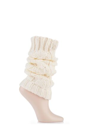 Ladies 1 Pair Elle Chunky Cable Knit Leg Warmers Cream