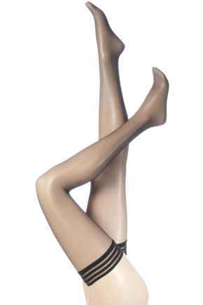 Ladies 1 Pair Levante Micro Net Stripe Top Hold Ups