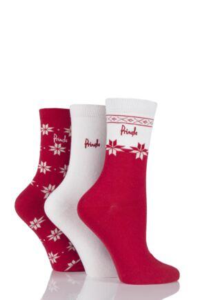 Ladies 3 Pair Pringle Sasha Snowflake and Plain Socks Snow 4-8 Ladies