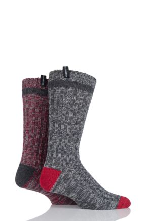Mens 2 Pair Glenmuir Wool Blend Ribbed and Plain Contrast Heel and Toe Boot Socks