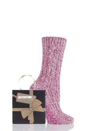Ladies 1 Pair SockShop Chunky Marl Slipper Socks Gift Box Pink 4-8 Ladies