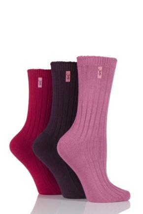 Ladies 3 Pair Jeep Spirit Ribbed Cotton Socks Warm Winter Pinks 4-7 Ladies
