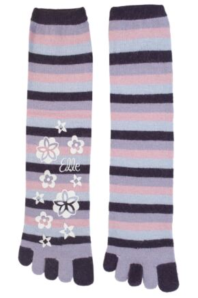 Ladies 1 Pair Elle Striped Angora Toe Socks Grape