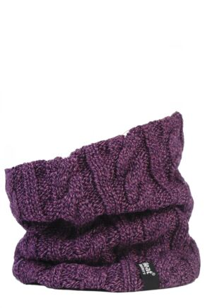 Ladies 1 Pack Heat Holders 3.5 Tog Heatweaver Yarn Neck Warmer Purple