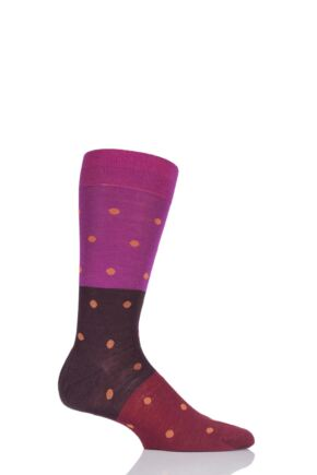 Mens 1 Pair Richard James Puno Spot and Block Striped Merino Wool Socks Magenta 9-11