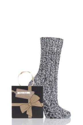 Ladies 1 Pair SockShop Chunky Marl Slipper Socks Gift Box In 3 Colours