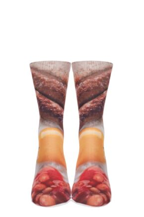 Mens 1 Pair SockShop Dare to Wear Pixel Perfect Full English Breakfast Printed Socks