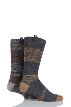 Mens 2 Pair Glenmuir Wool Blend Striped Boot Socks