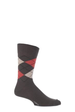 Mens 1 Pair Viyella Short Cotton Argyle Socks With Hand Linked Toe Lovat