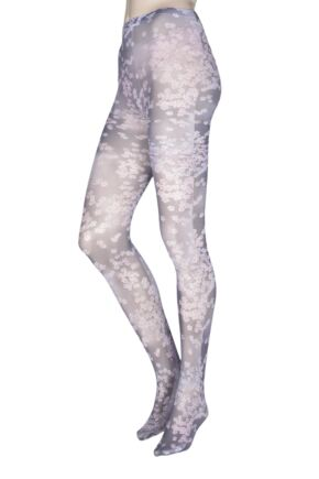 Ladies 1 Pair Elle Cherry Blossom Patterned Printed Tights