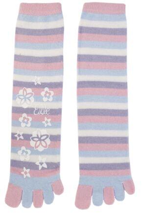 Ladies 1 Pair Elle Striped Angora Toe Socks Light Pink