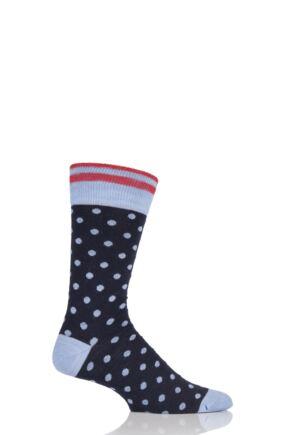 Mens 1 Pair Viyella  Striped Top and Dots Wool Blend Socks 33% OFF