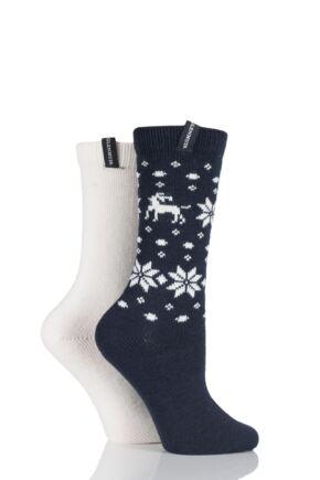 Ladies 2 Pair Glenmuir Reindeer Fairisle Wool Blend Boot Socks 33% OFF