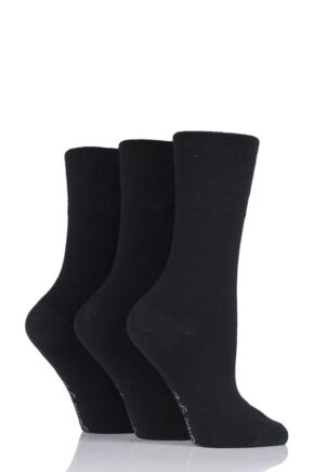 Ladies 3 Pair Gentle Grip Plain Wool Socks