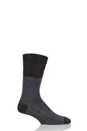 Mens 1 Pair HJ Hall Mosaic Wool Blend Softop Socks