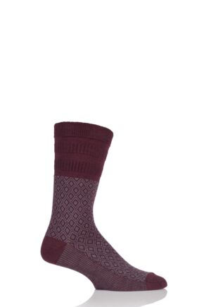 Mens 1 Pair HJ Hall Mosaic Wool Blend Softop Socks Burgundy 6-11 Mens