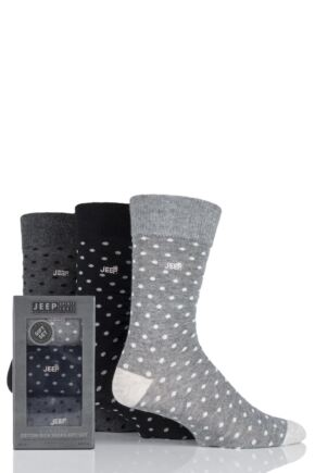 Mens 3 Pair Jeep Spotted Cotton Socks Gift Box