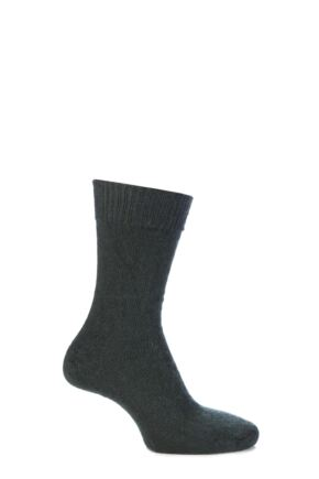 Mens and Ladies 1 Pair SockShop of London Mohair Plain Knit True Socks Green 4-7
