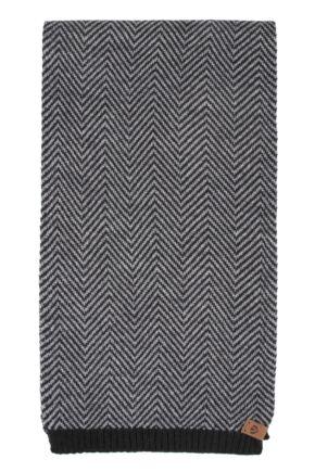 Mens Fraas Wool Blend Chevron Striped 25 x 180cm Scarf Grey 25 x 180cm