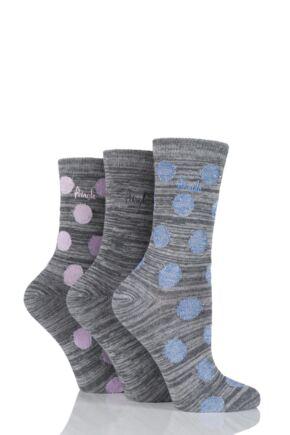 Ladies 3 Pair Pringle Salena Space Dye Dots and Plain Socks Grey 4-8 Ladies