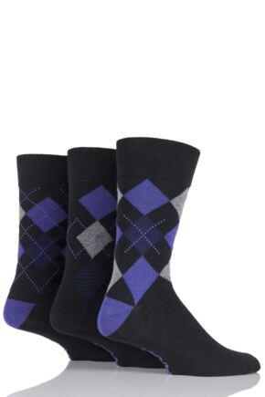 Mens 3 Pair Farah Classic Deluxe Argyle Cotton Socks Black/Purple Argyle 6-11 Mens