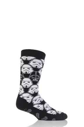 Mens 1 Pair Heat Holder Star Wars Storm Trooper and Darth Vader Slipper Socks with Grip