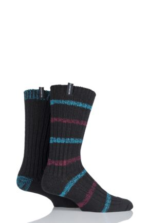 Mens 2 Pair Glenmuir Wool Blend Ribbed Striped and Plain Boot Socks