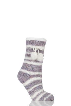 Ladies 1 Pair Totes Fleece Lined Striped Eyelash Sliper Socks with Pom Pom Pink 4-7 Ladies