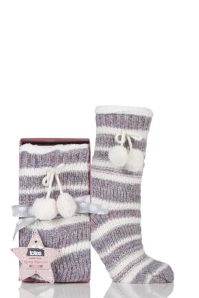 Ladies 1 Pair Totes Fleece Lined Striped Eyelash Slipper Socks with Pom Pom Pink 4-7 Ladies