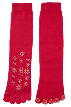 Ladies 1 Pair Elle Toe Socks With Pom Poms and Glitter Grip Red
