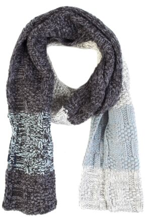Mens Urban Knit Rugged Cotton Rich Chunky Three Colour Scarf 75% OFF Charcoal / Light Grey