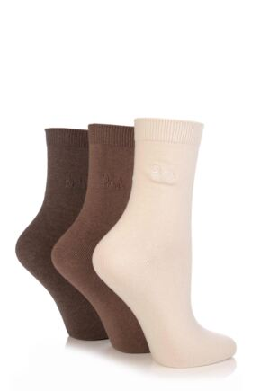 Ladies 3 Pair Pringle Tiffany Plain Trouser Socks
