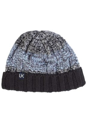 Mens Urban Knit Rugged Cotton Rich Beanie 75% OFF Charcoal / Light Grey