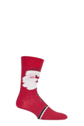 Mens 1 Pair SockShop Christmas Dare to Wear Father Christmas Socks Red 6-11