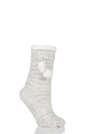 Ladies 1 Pair Totes Fleece Lined Textured Rib Slipper Socks with Pom Pom Grey 4-7 Ladies
