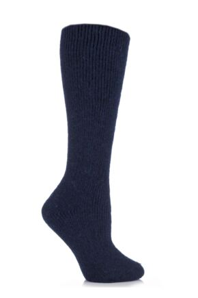 Ladies 1 Pair SockShop Heat Holders Wool Rich Long Thermal Socks Indigo