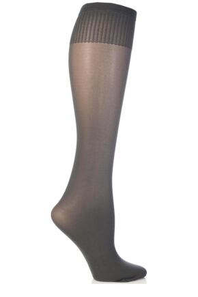 Ladies 1 Pair Trasparenze Laura Microfibre Knee Highs Dark Grey