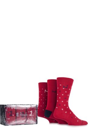 Mens 3 Pair Pringle Gift Boxed Balmaha Spotty and Snowflake Patterned Cotton Socks Red 7-11 Mens