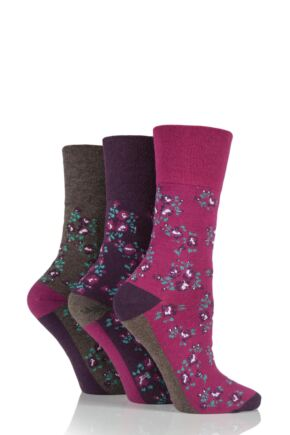 Ladies 3 Pair Gentle Grip Floral Patterned Cotton Socks Pink 4-8 Ladies
