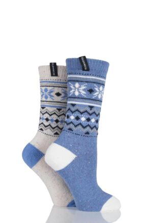 Ladies 2 Pair Glenmuir Contrast Fairisle Wool Blend Boot Socks