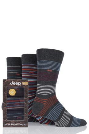 Mens 3 Pair Jeep Narrow Striped Cotton Socks Gift Box Charcoal 6-11 Mens