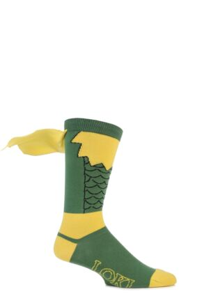 Mens 1 Pair SockShop Marvel Loki Cape Cotton Socks Green 6-11